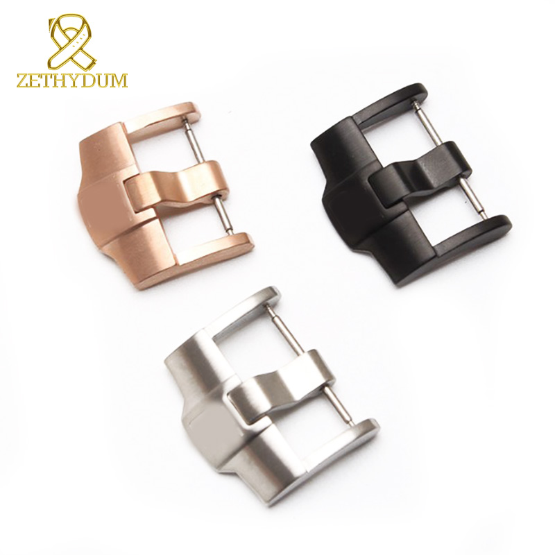 Stainless steel watchband buckle 316L solid metal pin clasp 20 22  24mm Watch button black for leather or rubber bracelet buckle