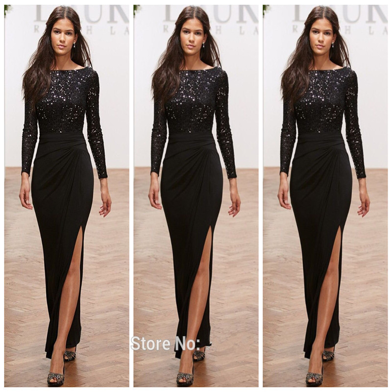 6a1dfa7791 US $120.0 |Nigerian lace gown styles Formal Black Long Sleeves Evening  Dresses Split Front Elegant Party Dress Boat Neck Prom Dresses-in Evening  ...