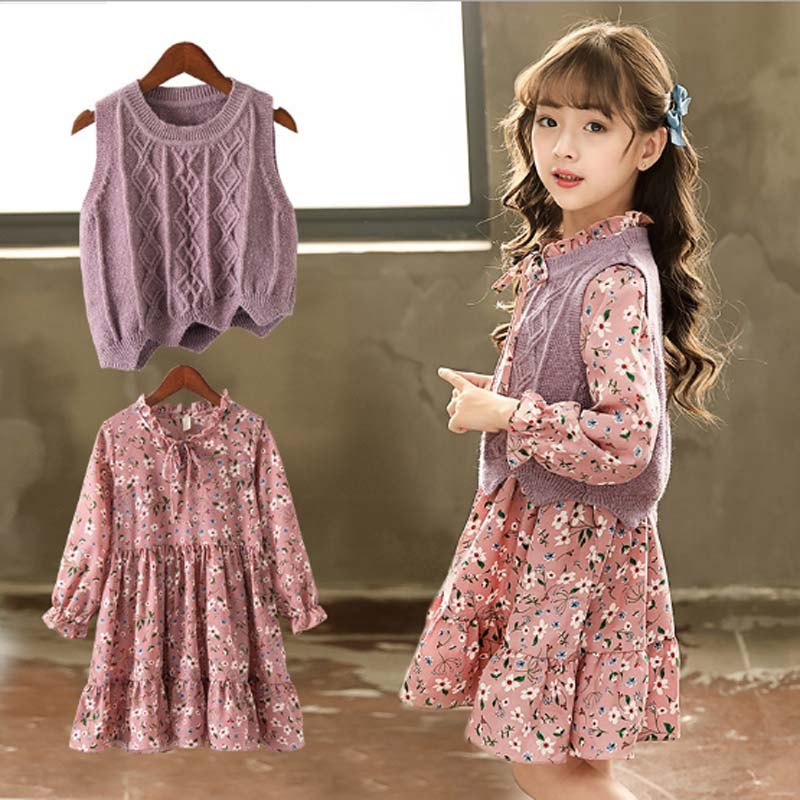 где купить Toddler Baby Girl Dress Autumn Flowers Dresses For Girls Children Knit Vest Girl Long Sleeve Fall Dress Kids Knitted Sweater 2PC дешево
