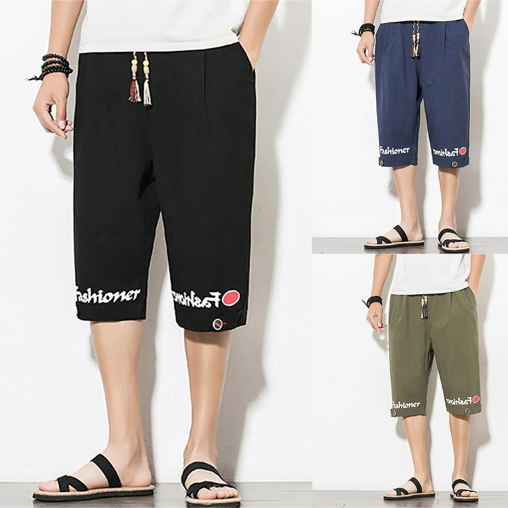 Men Summer Letter Casual Pants Jogger Pants Fitness Trousers Linen Loose Pants Oversized Wide Leg Pants Male High Street Loose