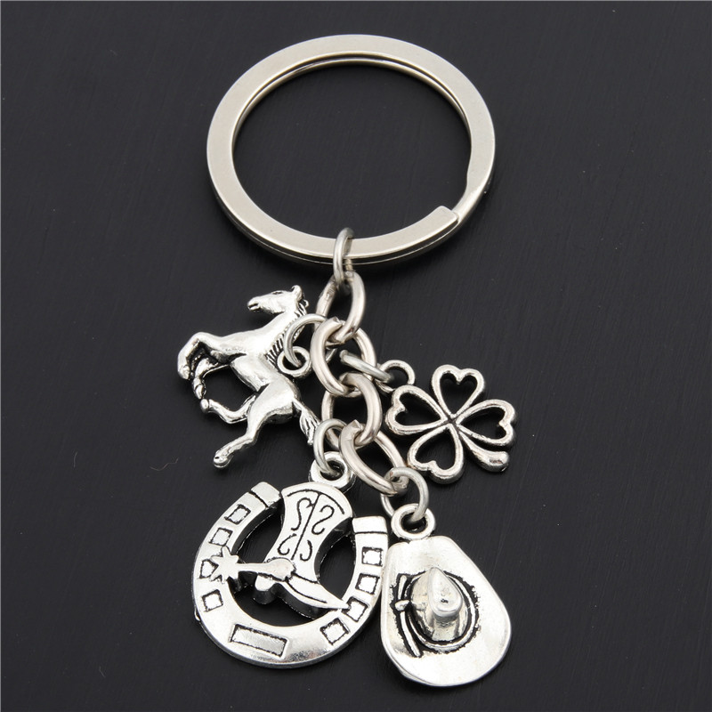 1pc Clover Charms Boot Keychain Cowboy Hat Keyring With Horseshoe Pendant Jewelry Cowboy Gift E1660