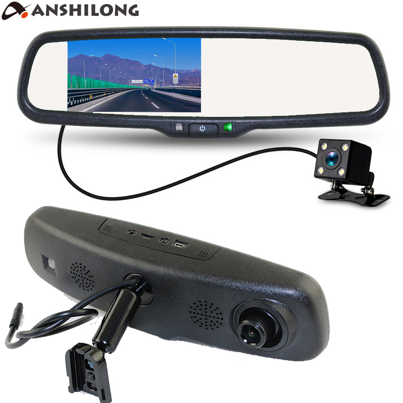 "ANSHILONG 4,3 ""Special Car Rear View Mirror DVR Monitor HD 1280x720 kamera med beslag + backup kamera dobbelt lins optagelse"