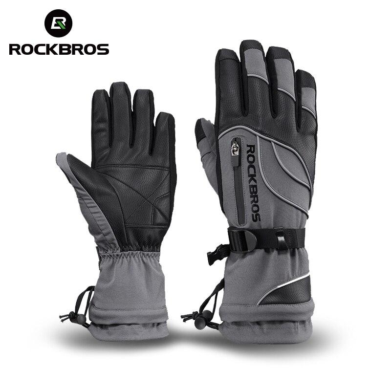 ROCKBROS -30 Degree Waterproof Ski Gloves Windproof Snowmobile Snowboard Gloves Snow Sport Handwear Fleece Thermal Skiing Gloves