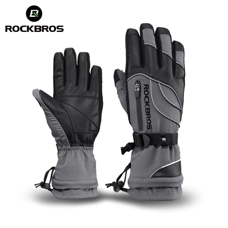 ROCKBROS-30 Grad Wasserdichte Ski Handschuhe Winddicht Schneemobil Snowboard Handschuhe Schnee Sport Handwear Fleece Thermische Skifahren Handschuhe