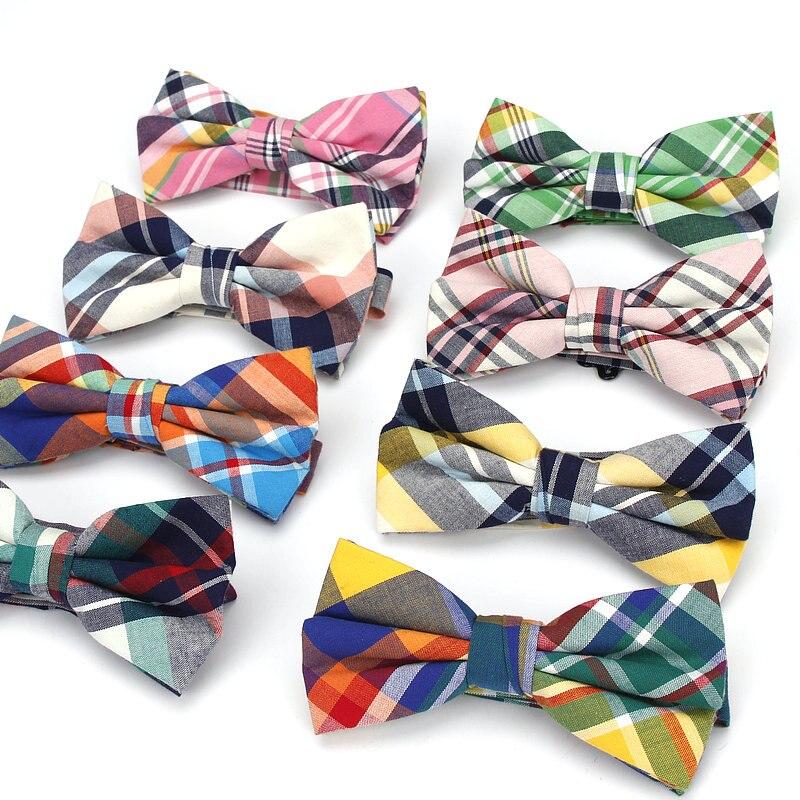 Fashion Men's Adjustable Classic Plaids Checks Striped Cotton Bowtie Tuxedo Neckties Bow Tie Holiday Party Gift Man Accessories