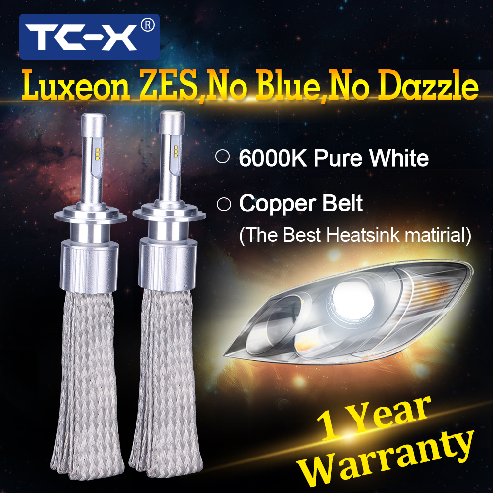 TC-X 2 PCS 7000LM/Set H1 H7 H3 H11 9005 9006 D2S D4S LED Headlights Copper Braiding HID Original Bulbs Replacement LED Car Light
