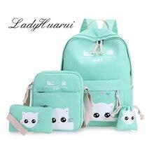 Высокая Ёмкость рюкзак с Cat Школьные ранцы для подростков девочек Рюкзаки печати милые школьная сумка Mochila Infantil Q2