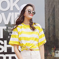 Korean character color striped short sleeved spring summer new half sleeve shirt 2016 female short sleeved loose T-shirt