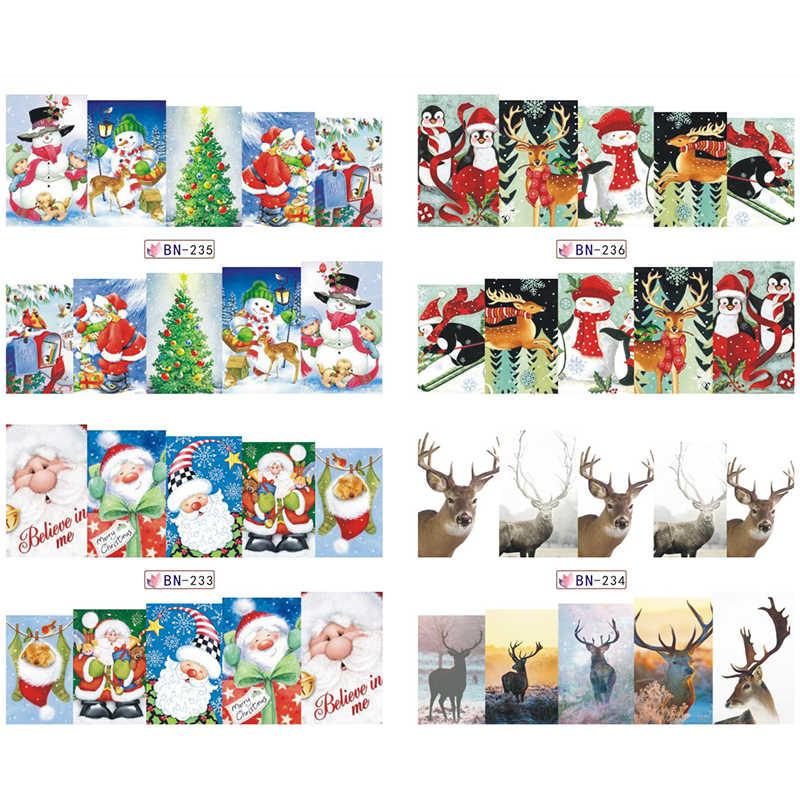 LadyMisty 1 Blatt Weihnachten Schneemann Baum Stiefel Glocken Deer Wasser Transfer Nail art Aufkleber Aufkleber Slider Maniküre Wraps Werkzeug Tipps