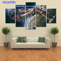 Star Wars Painting Canvas Hd Print Millennium Falcon Modern Children Room Home Decor 5 Pieces Canvas