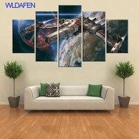 Star Wars Painting Canvas Hd Print Millennium Falcon Modern Children Room Home Decor 5 Pieces Canvas