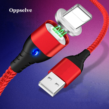 Oppselve Magnetic USB Cable 1m 2m Braided Mobile LED USB Magnet Charger Cable For Apple iPhone 7 8 6 6S Xs Max XR Plus Cord Tubo гарнитура qcyber roof black red звук 7 1 2 2m usb