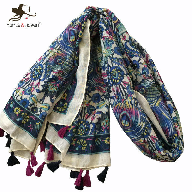 Marte&Joven Beautiful Peacock Feather Print Warm   Scarf     Wraps   for Women Luxury Big Size Blue Art Flower Autumn Winter Shawl Hijab