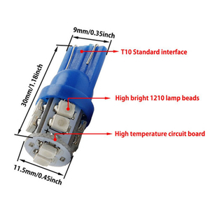 Image 2 - 20 PCS סופר בהיר כחול 12V Led Blulbs עבור מכוניות טריז 10 SMD כיפת מפת מטענים פנים אור מנורת איתות אביזרי רכב