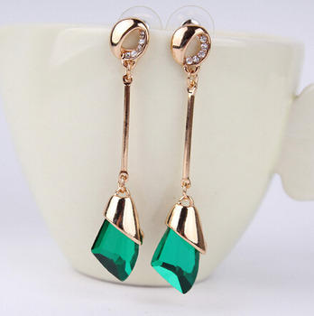 Women's Drop Crystal Earrings Earrings Jewelry Women Jewelry Metal Color: E071 green