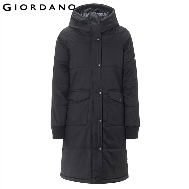 Giordano pocket Style Pardessus Chaqueta Long Mujer 06grey Femmes Veste Solide 09black Capot Chaud Multi Matelassée Poignets qgqfHC