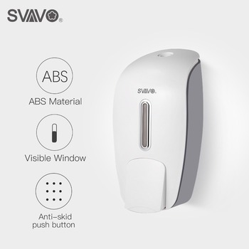 800ml SVAVO Wall Mounted Hand Soap Dispenser ABS Plastic Manual Free Shipping Touch Shower Liquid