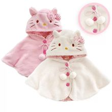 2015 Fashion hello kitty baby girl clothing soft fleece cloak toddler girl clothing cape for outerwear