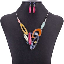 MS1505070 Fashion Jewelry Sets High Quality Lead&Nickle Free Multicolor Pendant Choker Necklace Earrings Set Wedding Jewelry