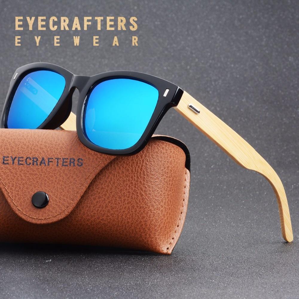 Eyecrafters 2018 Retro Bamboo Wood Sunglasses Polarized Men Women Brand Designer Goggles Blue Coating Mirrored UV400 Eyewear