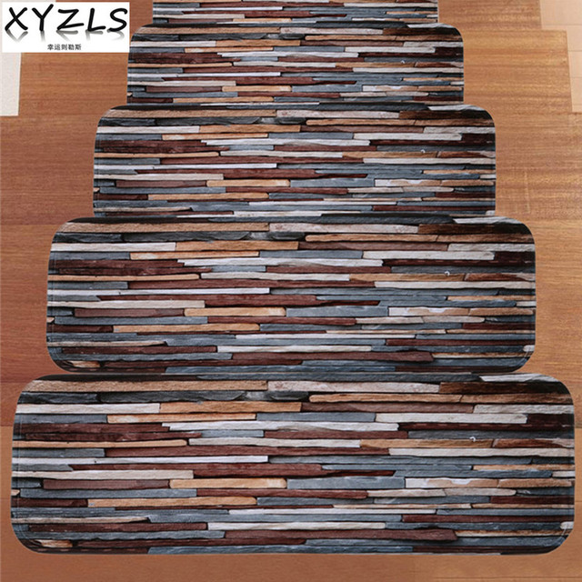 XYZLS 5 Pcs / Set Retro Stone Floor Like Anti Skid Stair Rugs Stair Mats