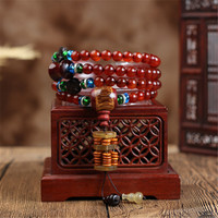 8mm Natural Tibetan Old Sheep Horn 108 Buddha Beads Bracelet for Men Women Ethnic Style Abacus Full of Blood Goat Horn Bracelets