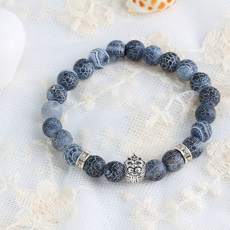 hot selling Natural stone lion crown Lucky Charm Bracelets Stone Matt Beads Bracelets Jewelry Fashion Accessories For gifts