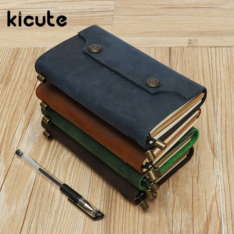 Kicute 1pcs Genuine Leather Notebook Travelers Journal Agenda Handmade Planner Notebooks Vintage Diary Office School Supplies genuine leather notebook travelers journal agenda handmade planner notebooks diary caderno sketchbook school supplies