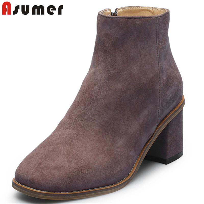 ASUMER 2018 fashion autumn winter new shoes woman square toe zip ladies boots thick high heels suede leather ankle boots women купить в Москве 2019