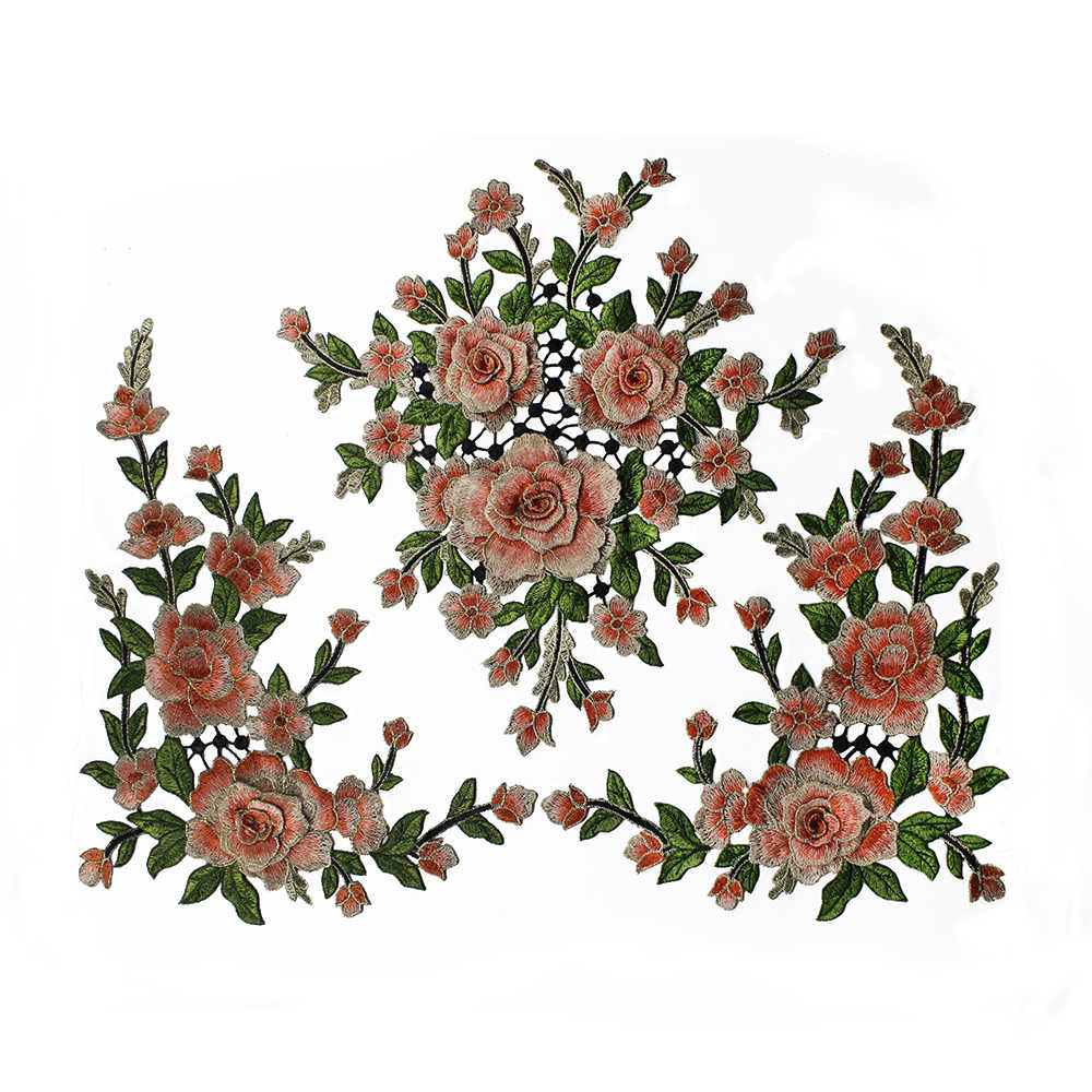 4pieceslot Handmade 3D flowers embroidered Lace Trim appliques Patches For Craft Garment Decoration