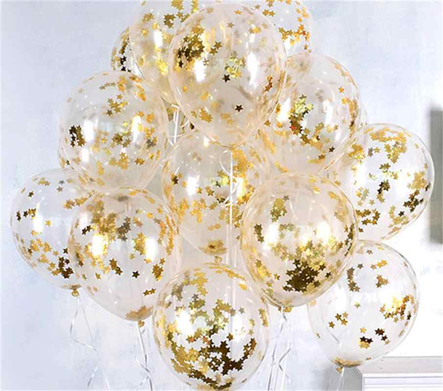 10pcs Clear Balloons Gold Star Foil Confetti Transparent Balloons Happy Birthday Baby Shower Wedding Party Decorations Globos
