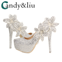 Women Shoes Crystal Silver Color Big Flower Wedding Shoes Super Heel Waterproof Bridal Banquet Toast Comfortable Special Wears