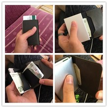 Male Metal Card Holder RFID Aluminium Alloy Credit Card Holder PU Leather Wallet Antitheft Men