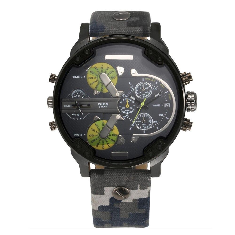 Prix pour Mode de MEURT Hommes Grand Cadran style Toile strap Date Calendrier quartz montre-bracelet D039