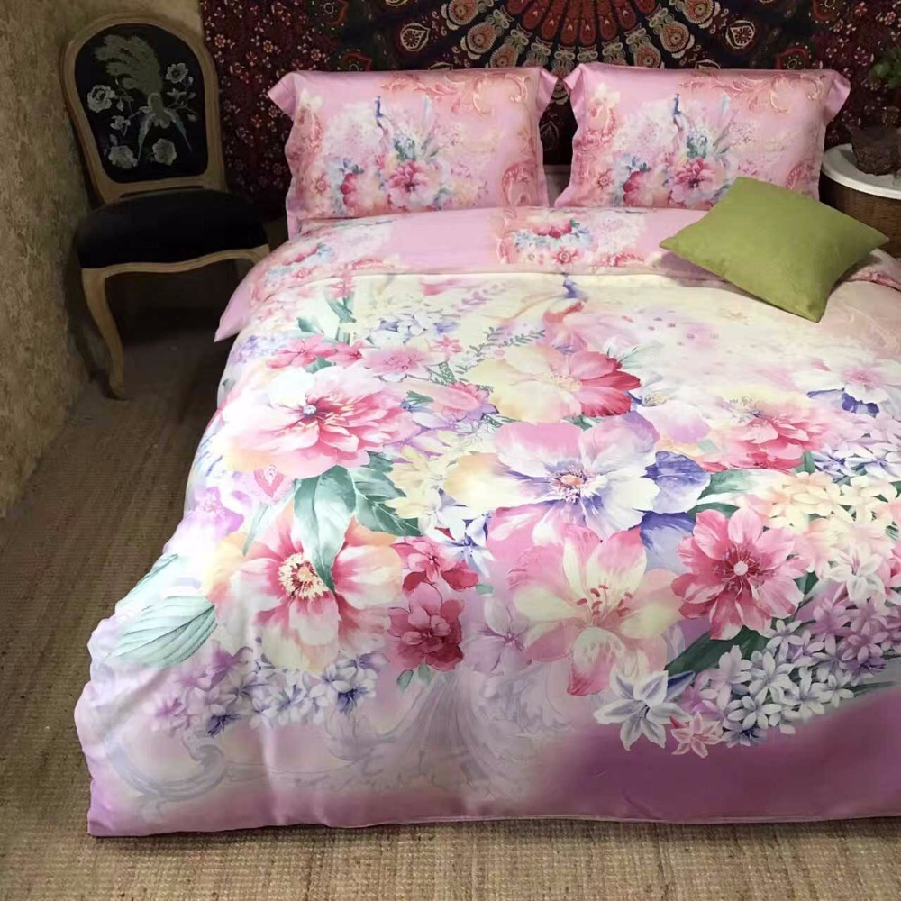 Pink bed sheet design - 2017 Luxury Silk Place Satin Bedding Set New Designer Bedding Sets Bed Sheet Chinese Wedding Style