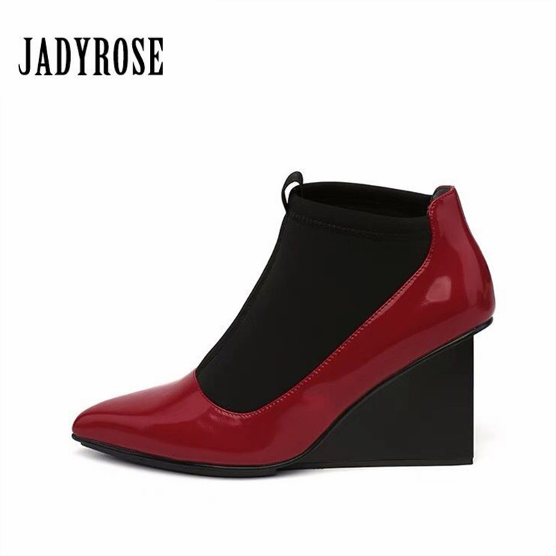 Jady Rose 2019 Fashion Women Shoes Winter Autumn Stretch Fabric Ankle Boots Gladiator High Heel Shoes Women Wedges Slip On PumpsJady Rose 2019 Fashion Women Shoes Winter Autumn Stretch Fabric Ankle Boots Gladiator High Heel Shoes Women Wedges Slip On Pumps