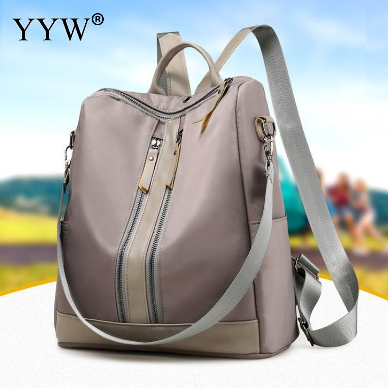 2019 Casual Backpack Women Waterproof Solid Color Shoulder Bags For Women Oxford Soft Surface Ladies Hand Bag Rucksack Gray