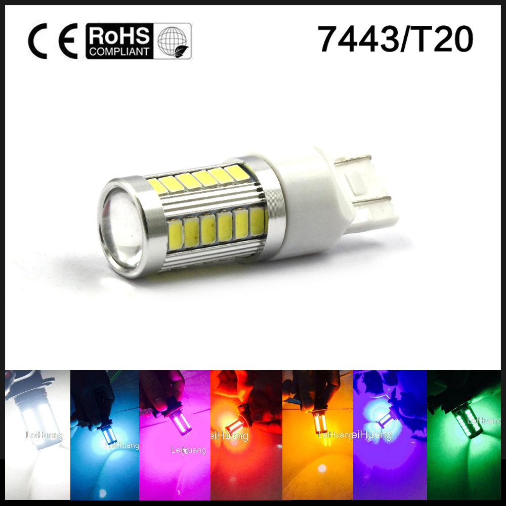 T20 7443 W21/5W 33 SMD 5630 5730 LED Auto 21/5w Car DRL Driving Lamp Stop Bulbs Red White Amber DC 12V цена