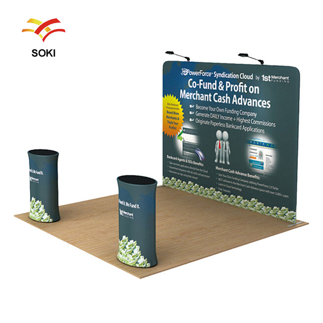 Exhibition Display Stands : 2x2m oem size straight exhibition booth pop up display stands for