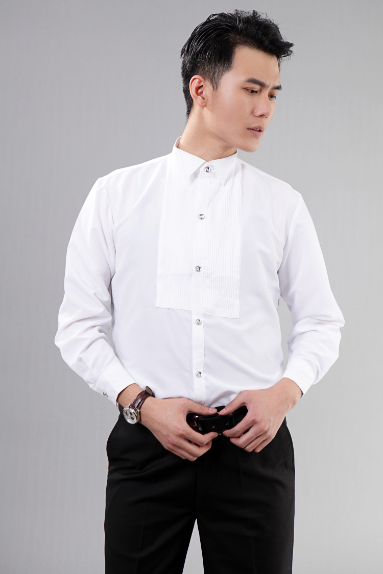 Buy hot new style white long sleeved men for White shirt outfit mens