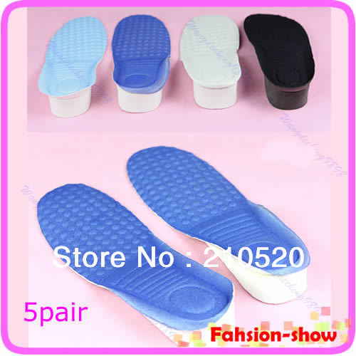 5Pairs/lot Women Man 3CM Up Height Increase Shoe Pad Heel Insoles Taller Pads Soft and light Hot Sell kotlikoff 3 5cm half pad insoles women man up height increase shoe pad heel insoles pads invisible height increase shoe inserts