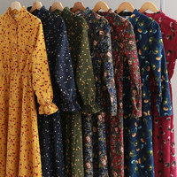 Vintage Ethnic Floral Print Women Spring Autumn New Fashion Buttons Elastic Waist Long Corduroy Blouse Casual