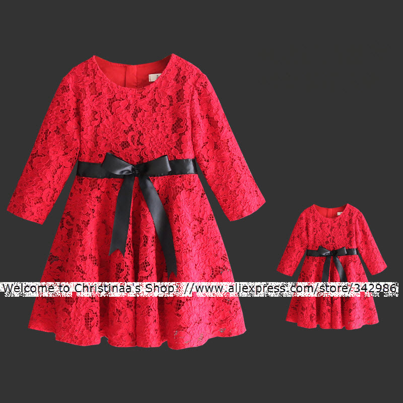 European and American mother daughter dresses girls red lace long dresses women family clothes Party Dresses Leisure Bow Knot european american style short sleeves women skirts kids girls holiday party dress children clothes mother daughter lace dresses