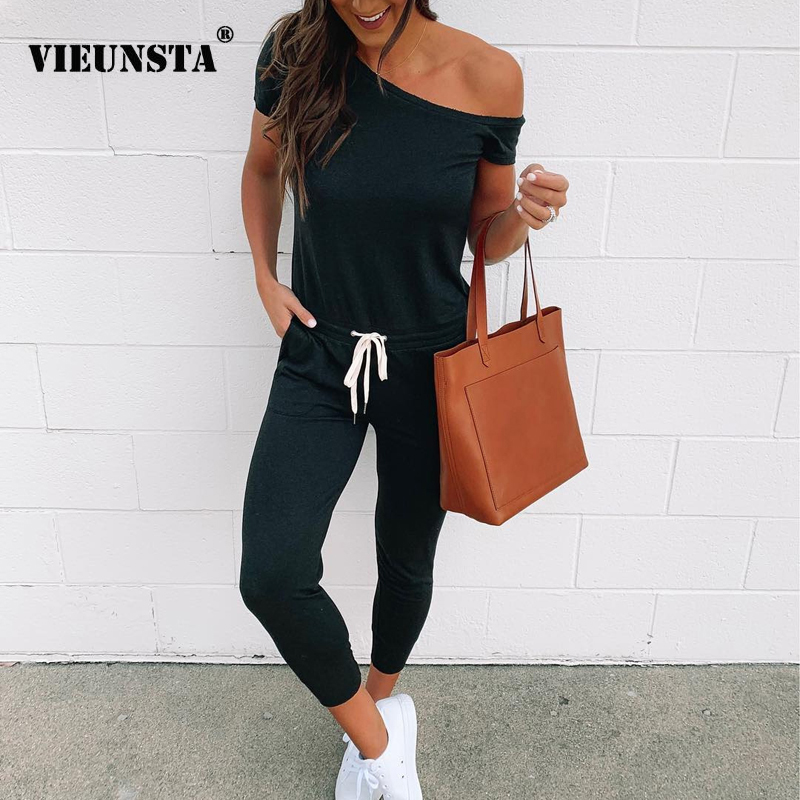 VIEUNSTA Off Shoulder Lace-up Pockets Sexy Jumpsuit Women Short Sleeve One Piece Outfit Streetwear Rompers Summer Beach Overalls
