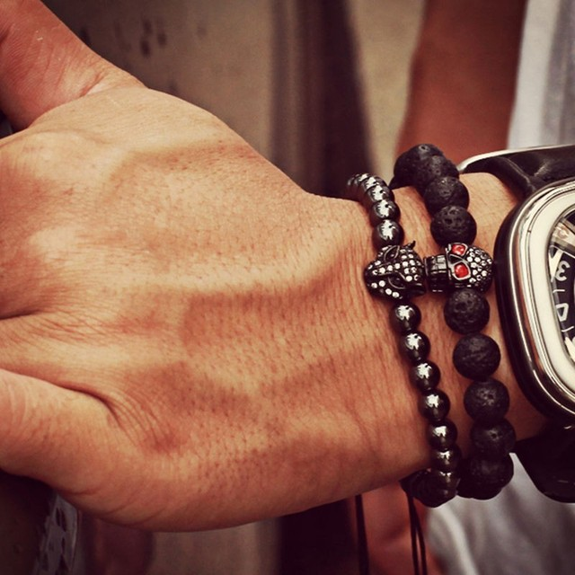 Hot Charm men bracelet Fashion Pave CZ Skull Bracelets Lava Stone Bead Bracelet for Men Jewelry Pulsera Hombres christmas gift