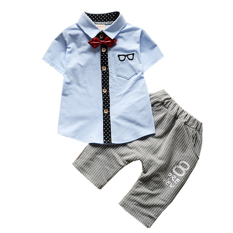 Summer Children Boy Girl Gentleman Suits Kids Bow Tie Shirt Pants 2pcs/Set Baby Fashion Cotton Clothes Toddler Glasses Tracksuit