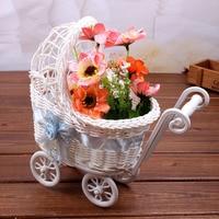 White Baby Stroller Design Storage Basket Basket Wedding Decoration Hand Woven Rattan