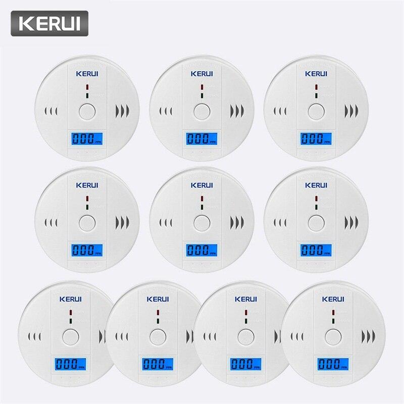 KERUI 10pcs Work Independent Alone Built in 85dB siren sound LCD CO Sensor Carbon Monoxide Poisoning