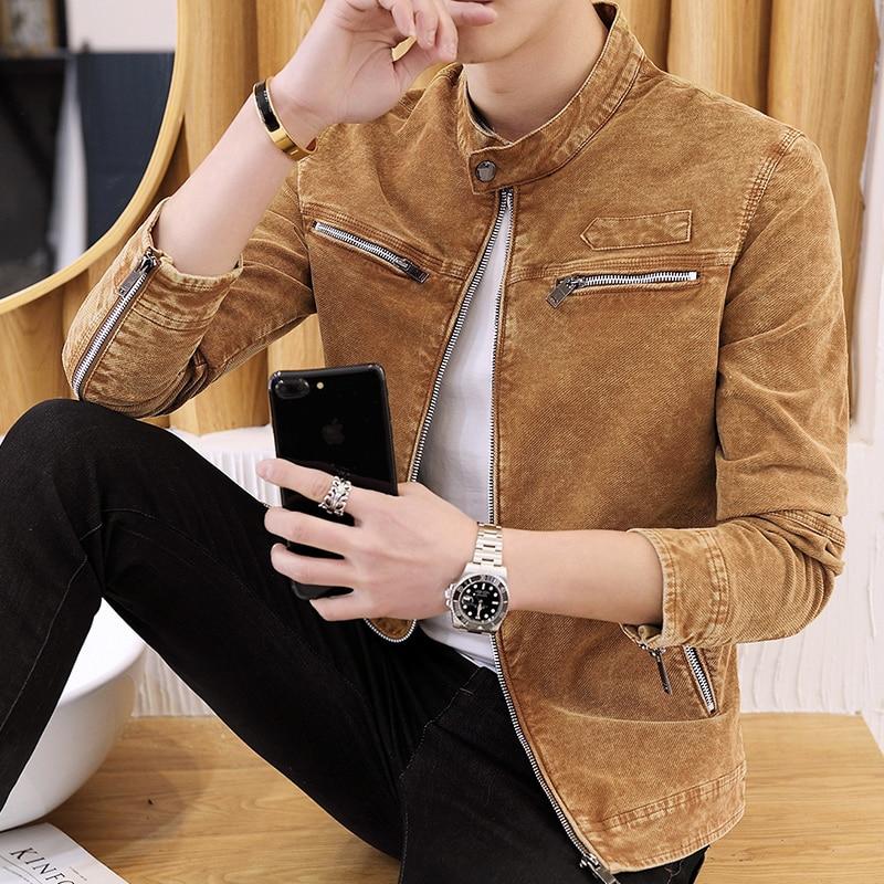 Men's Jackets Spring Autumn Korean Trend 2018 New Slim Standing collar Men's Vintage Denim Jackets S 3XL