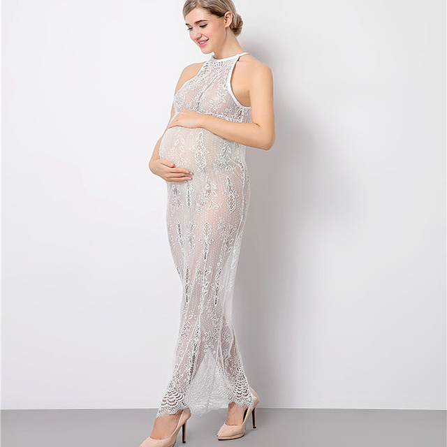 Lange Witte Maxi Jurk.Moederschap Fotoshoot Lange Witte Kant Jurk Zwangere Vrouwen
